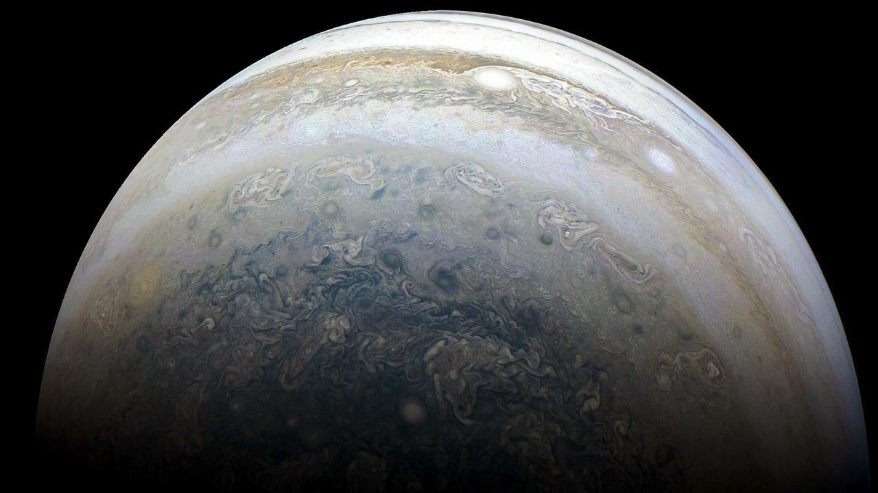 This NASA photo shows Jupiter's southern hemisphere captured by NASA's Juno spacecraft. You can see Jupiter lined up in the night sky with four other planets this month, but not this close up! Picture: AFP/NASA