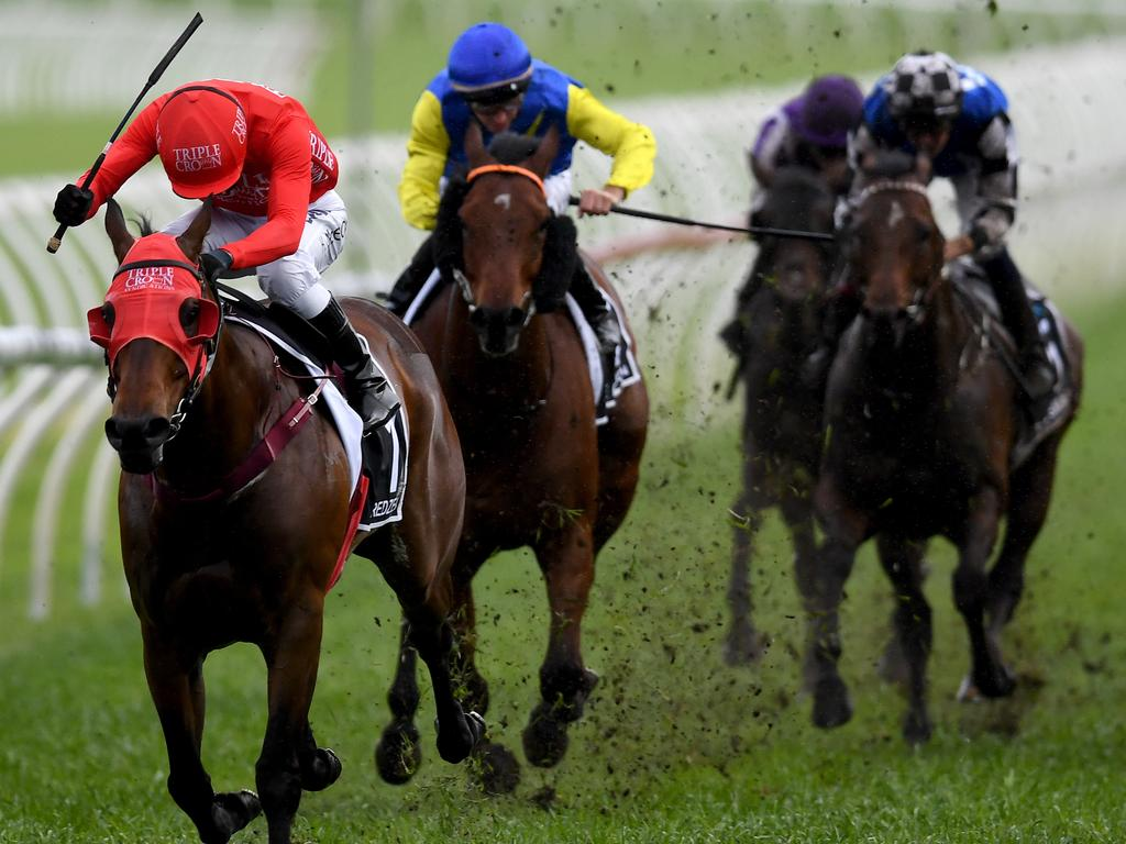 Jockey Kerrin McEvoy rides Redzel to victory in race 7, The Everest, during The TAB Everest race day at Royal Randwick Racecourse in Sydney, Saturday, October 13, 2018. (AAP Image/Dan Himbrechts) NO ARCHIVING, EDITORIAL USE ONLY