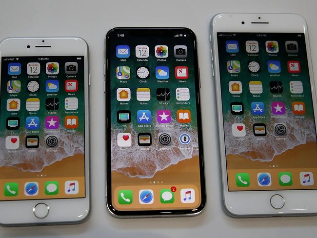 The new iPhone 8, iPhone X and iPhone 8S. Picture: Getty/AFP