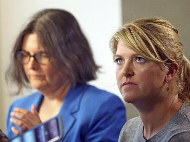 Nurse Alex Wubbels, right, looks on during an interview while her attorney Karra Porter looks on. Picture: AP