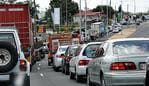TRAFFIC CHAOS: The Bruce Highway through Gympie was choked all the way back past Albert Park as Road Works continued on the Bruce Highway upgrade through the city.