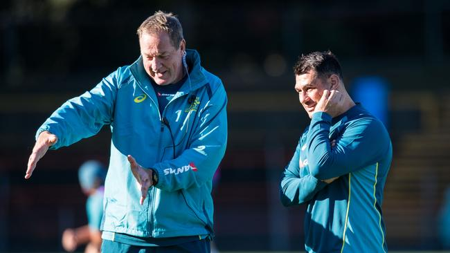 Skills coach Mick Byrne and George Smith at Wallabies training at Leichardt Oval.