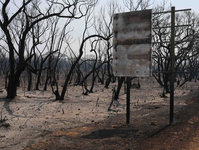 The aftermath at Kangaroo Island Wilderness Retreat after fire ripped through the Flinders Chase National Park. Picture: Emma Brasier