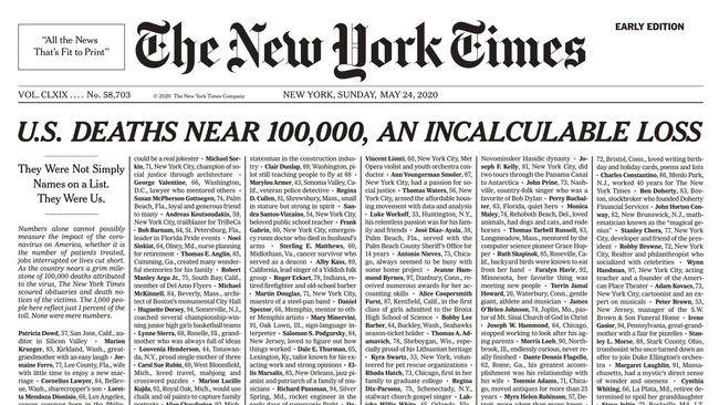 Coronavirus: New York Times exposes staggering death toll in powerful front page – NEWS.com.au