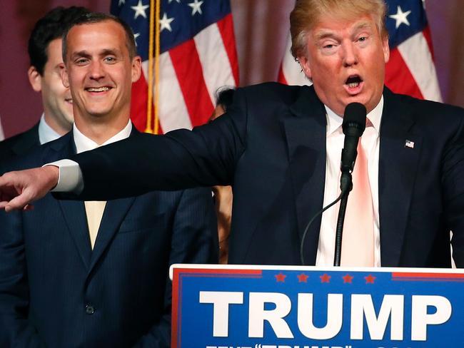 Corey Lewandowski and Donald Trump on the campaign trail. Picture: AFP