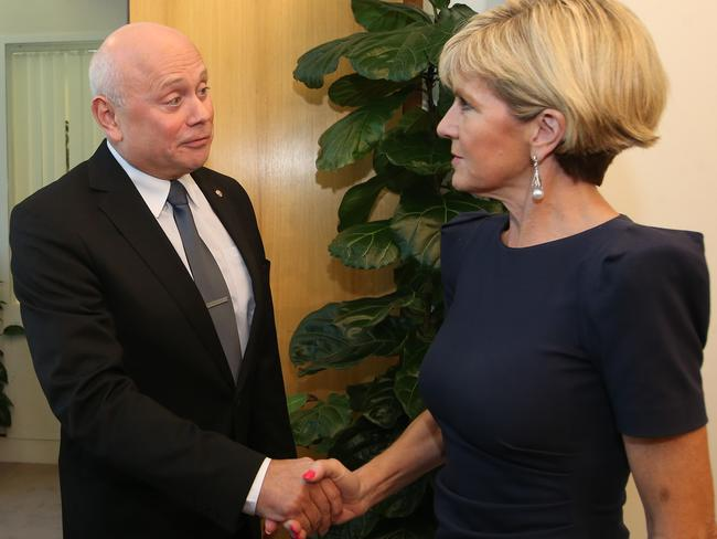 Russian Ambassador Grigory Logvinov meets Julie Bishop at Parliament House in March this year. Picture: Kym Smith.