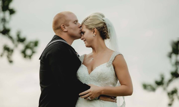 Cassie and Ryan on their wedding day
