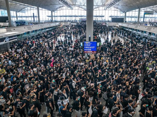 Protesters occupy the departure hall of the Hong Kong International Airport during a demonstration. Picture: Anthony Kwan/Getty Images