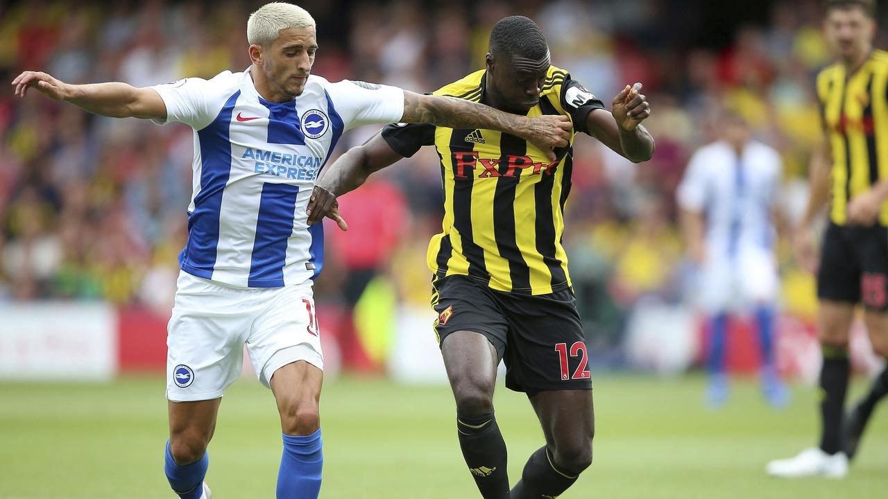 Brighton & Hove Albion's Anthony Knockaert tries to knock Watford debutant Ken Sema off the ball.