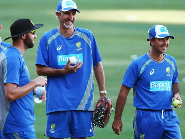 Jason Gillespie and Ricky Ponting during an Australia T20 training session last year.