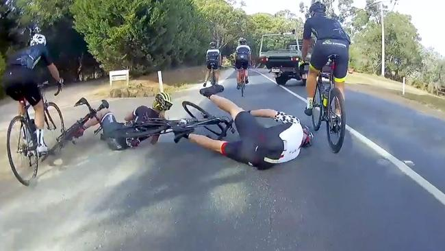 Two riders crashed after the move.