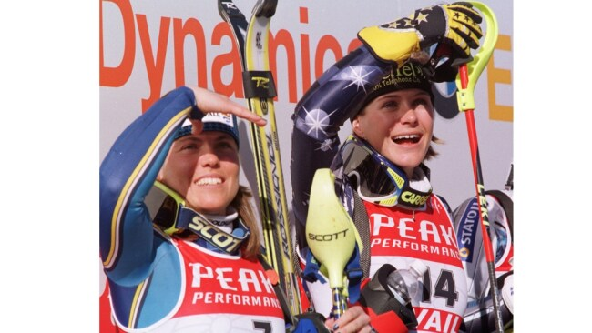 Skier Zali Steggall (r) with Pernilla Wiberg after winning gold medal in Womens Slalom at World Alpine Ski Championships 13 Feb 1999. Image: AP.