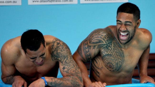 Fetuli Talanoa (L) and Eddy Pettybourne hit the ice baths during a South Sydney recovery session at Allsorts Fitness Centre, Alexandria in Sydney.