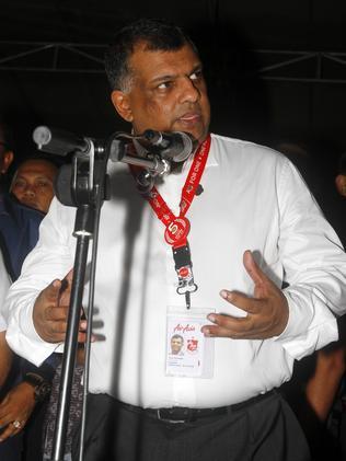 AirAsia Group CEO Tony Fernandes at the crisis centre at Juanda International Airport in Surabaya. Picture: Firdia Lisnawati