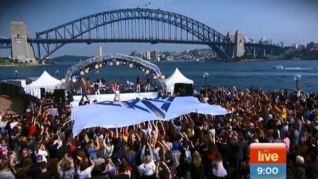 Katy Perry mania … The singer welcomed by Sunrise at the Opera House.