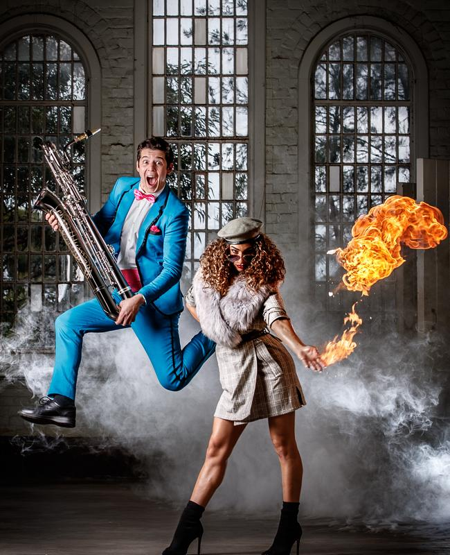 "High-flying saxophonist Blaise Garza and ""pyrokinetic"" dancer Rechelle Mansour – pictured at Z Ward in Glenside – are among the stars of Life – The Show, part of the Garden of Unearthly Delights 2019 line-up. Picture: Matt Turner"