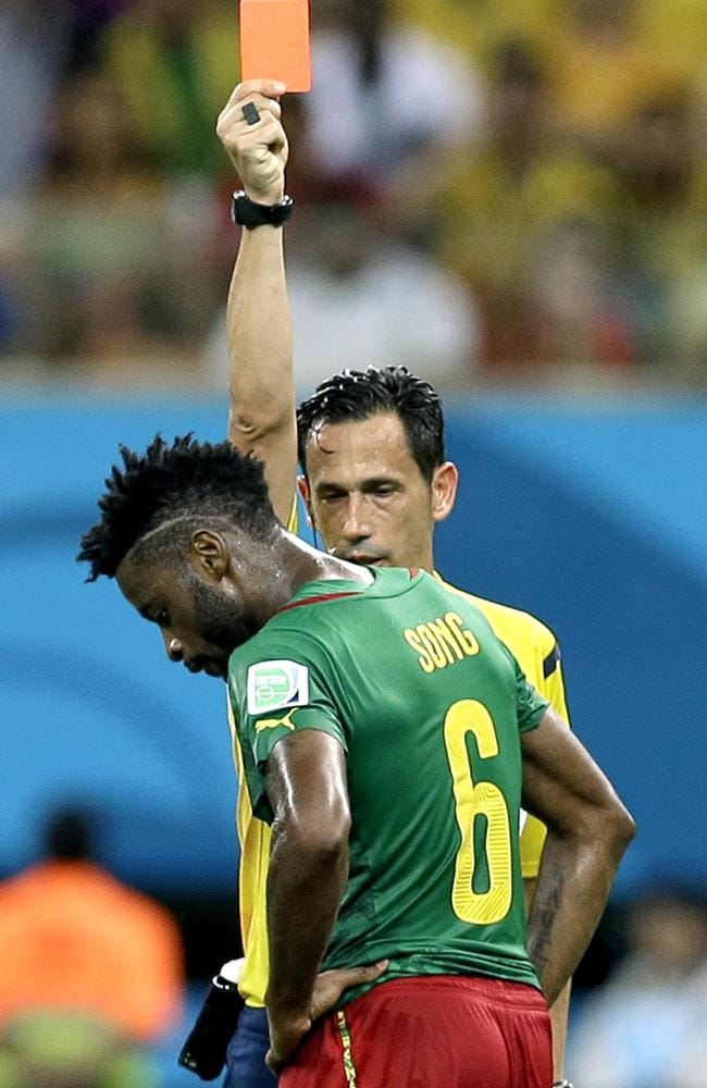 Cameroon's Alex Song gets his marching orders against Croatia.