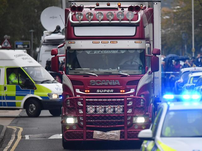 The truck has been moved from the scene so officers can investigate in peace, police said. Picture: Ben Stanstall/AFP.