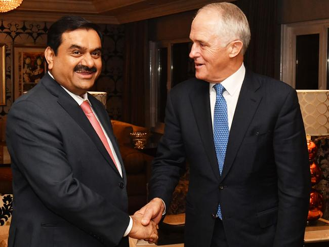 Australian Prime Minister Malcolm Turnbull meets with India's Adani Group founder and chairman Gautam Adani in New Delhi, India, Monday, April 10, 2017. Picture: Mick Tsikas