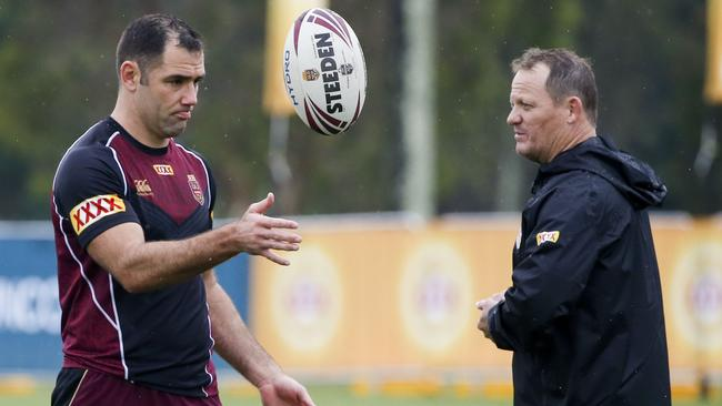 Maroons captain Cameron Smith (left) and coach Kevin Walters during the Queensland State of Origin team training.