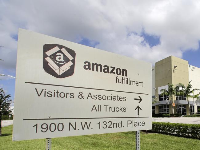 An Amazon warehouse in Miami. Soon such facilities may become enormous drone delivery ports — and marketing intelligence centres. Picture: AFP