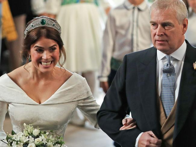 Eugenie and her father Prince Andrew at her 2018 royal wedding. Picture: Yui Mok / POOL / AFP