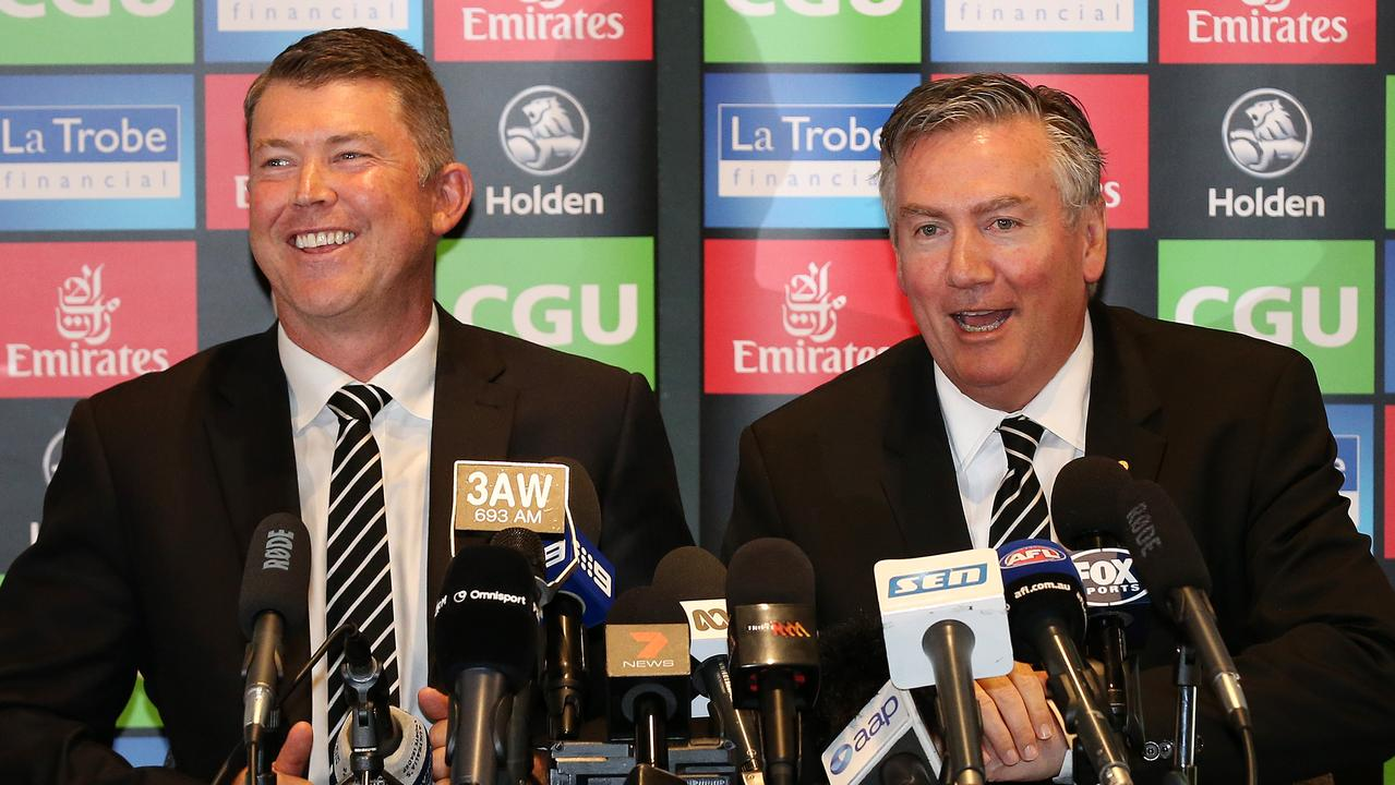 Gary Pert resigns and Eddie McGuire at a press conference. Pic: Michael Klein