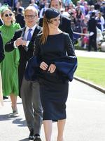Sarah Rafferty arrives for the wedding ceremony of Prince Harry and Meghan Markle at St. George's Chapel in Windsor Castle in Windsor, near London, England, Saturday, May 19, 2018. Credit: Ian West/pool photo via AP