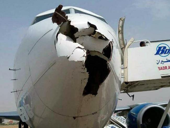 The nose of a Badr Airlines plane was destroyed after a bird strike. Picture: AviationWG/Twitter