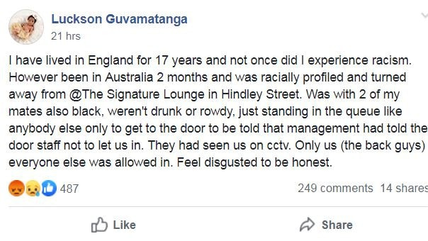 Mr Guvamatanga claimed he and his friends were targeted for their skin colour. Picture: Adelaide Hospitality Crew/Facebook