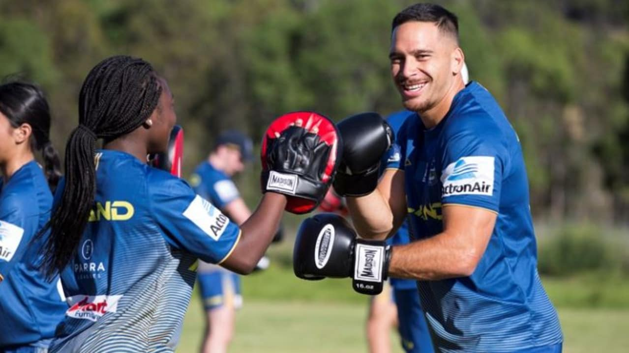 Eels players participate in a club wide training run involving 150 players. Photo: Parramatta Eels