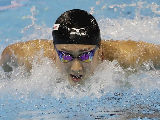 Rikako Ikee competes at the FINA World Swimming Championships short-course.