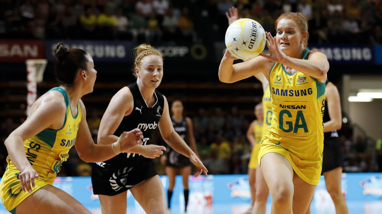 Stephanie Wood of the Diamonds passes the ball during the Constellation Cup match between the Australian Diamonds and New Zealand Silver Ferns. Picture: AAP