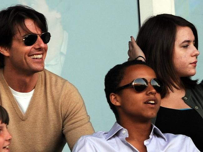 Tom Cruise with his children Connor (C) and Isabella in 2009. Picture: Supplied