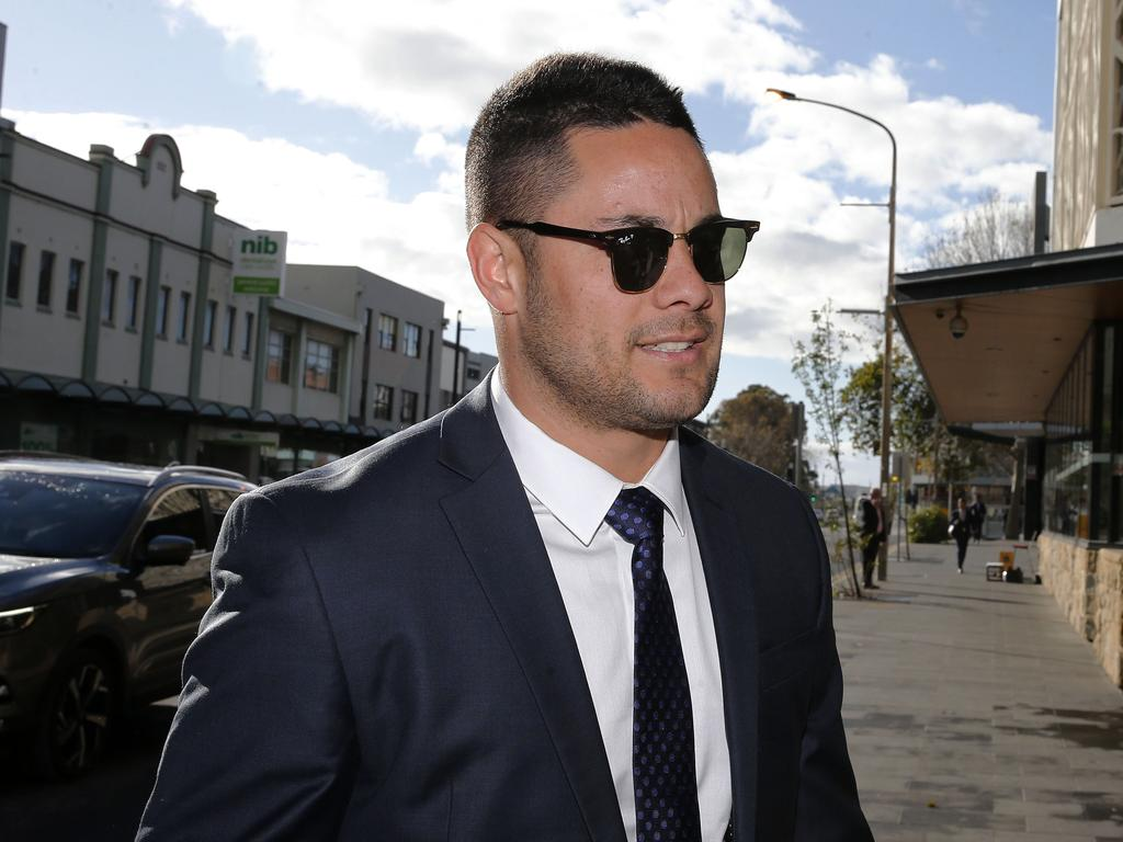 Jarryd Hayne arrives at Newcastle Local Court. Picture: Darren Pateman