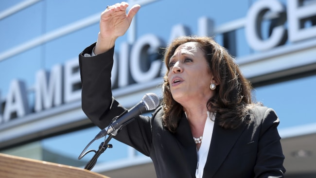 Harris speaks at a health care rally. Picture: Reed Saxon Source: AP Photo