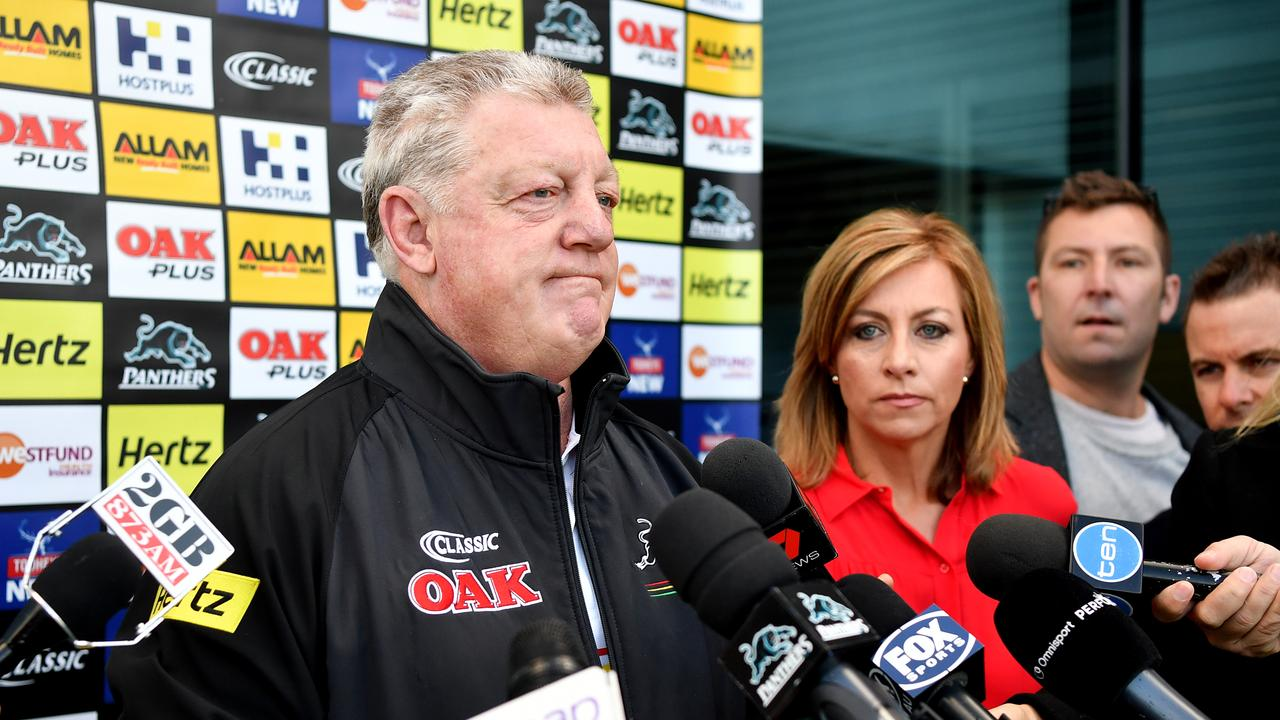 Phil Gould speaks to the media in the wake of the Panthers' decision to sack head coach Anthony Griffin.