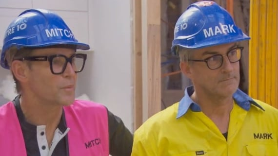 Mitch and Mark listened respectfully to Cam's explanation, but didn't apologise for blowing up at him in Sunday night's episode. Picture: Channel 9.