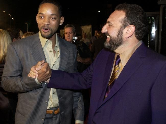 Producer Joel Silver with Will Smith at the 2003 premiere of The Matrix Revolutions in LA.