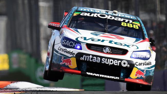 Craig Lowndes drives the #888 TeamVortex Holden Commodore VF at the Gold Coast 600.