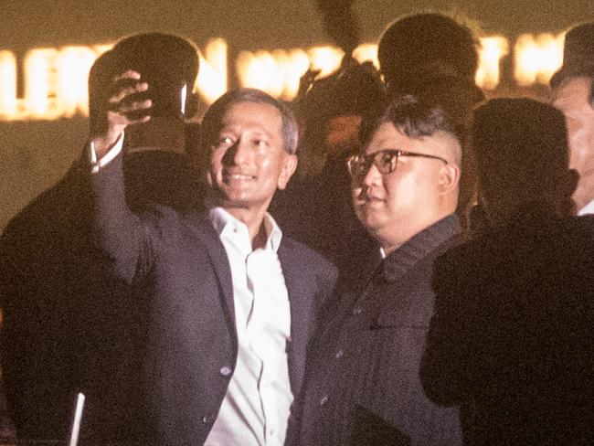 Singapore Minister for Foreign Affairs Vivian Balakrishnan takes a selfie with North Korean leader Kim Jong-un. Picture: Getty Images