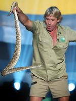 Steve Irwin lifts up a snake on stage at Nickelodeon's 15th Annual Kid's Choice Awards in Santa Monica, California, in 2002.