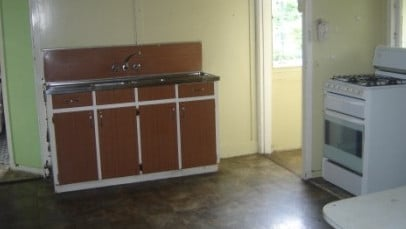 The kitchen in the house at 22 Gizeh St, Enoggera, before it was renovated.