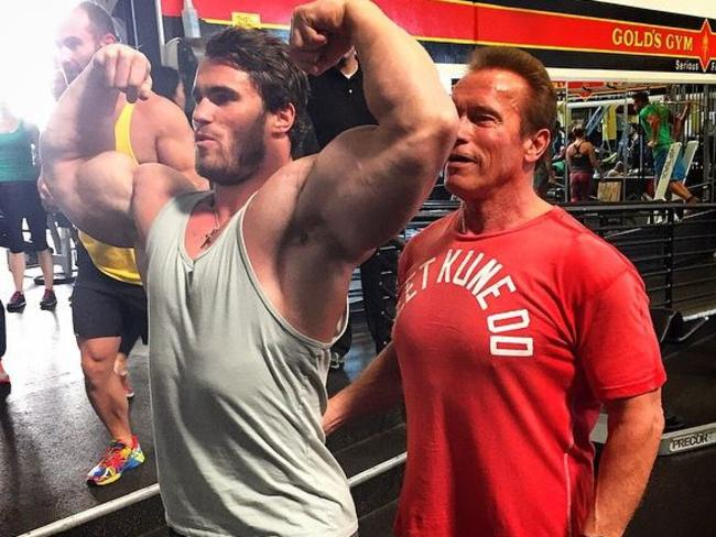 Calum Von Moger gets some pointers from Schwarzenegger himself. Picture: Instagram