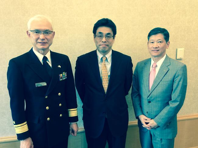 Japan begins hard sell for sub ... Japanese submarine delegation members Rear Admiral Naoto Sato, Masaki Ishikawa from the Japanese government acquisition agency and Izumi Ishii from Mitsubishi Heavy Industries. Picture: Supplied