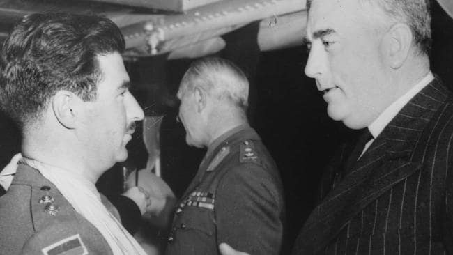 Prime minister of Australia Robert Menzies, right, announced to the nation Australia was at war in 1939.