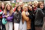 Teenage girls wait outside Channel 7 for boy band One Direction to be interviewed for the Sunrise show. 16 year old Olivia Quinn is over come. PIC: John Grainger