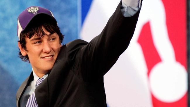 Andrew Bogut takes the stage after being selected by the Milwaukee Bucks as the first overall pick in the 2005 NBA Draft at Madison Square Garden in New York.