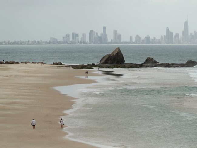 Currumbin beach on the Gold Coast on Monday. Picture: Chris Hyde/Getty Images