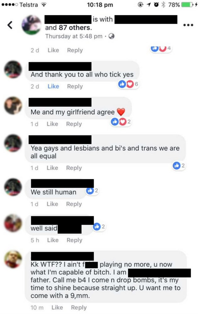 The man appears to issue a death threat to the girl in the shocking post.